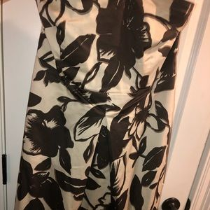 NY&Co Brown/tan floral strapless dress with belt